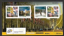 ISLE OF MAN 2014 Tour De France  Postal Stationary Mint Stage 3 Bradley Wiggins Velo Bike Cyclisme Cambridge Car - Isla De Man