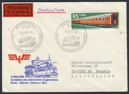 DDR Germany 1989 Brief Cover - Aufnahme Elektrischen Zugbetriebes Berlin-Saßnitz-Mukran-Binz - Exprès - Trains