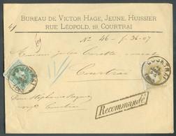 N°30-32 - 10 Centimes Vert + 25 Centimes Bistre Obl. ScCOURTRAIsur LettreRECOMMANDEdu 15 Janvier 1880 Vers La Ville. - 1869-1883 Leopold II