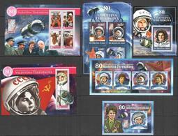 XZ0011+0036-37 2017 80TH ANNIVERSARY TERESHKOVA 1ST WOMAN IN SPACE 3KB+3BL MNH - Other