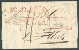 LAC D'ANVERS Le 9 Octobre 1833 + Griffe Rouge PAR ESTAFETTE Et L.P.B.2.R. Et BELGIQUE/VALENCIENNES Vers Paris, Port '11' - 1830-1849 (Onafhankelijk België)