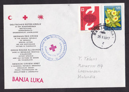 Yugoslavia: Cover To Netherlands, 1969, 2 Stamps, Sent By German Red Cross Earthquake Relief Banja Luka (traces Of Use) - Brieven En Documenten