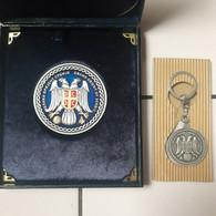MASON Masonic Lodge ALMA MONS GRAND ORIENT OF SERBIA LOT MEDAL PLAQUE KEY RING - Vereinswesen