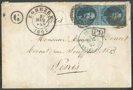 N°11(2) - Médaillons 20 Centimes Bleus Obl. P.147 Sur Lettre De EGHEZEEle 2/12/1862 + Boîte Gde TILLIERvers Paris.ve - 1858-1862 Medaillons (9/12)