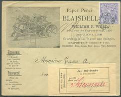 N°71 Obl. Sc BRUXELLES-EST Sur Enveloppe Illustrée (paper) Du 7/5/1897 Vers L'Italie - Vignette 'Al Mittente Inconnu' + - 1894-1896 Expositions