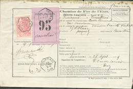 TR N°11 Obl. Hexagonale TOURNAI Sur Bordereau D'envoi Ch. Fer De L'Etat, Petits Paquest, Tarif N°II Du 28/09/1889 + étiq - Other