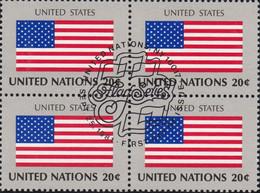 NATIONS UNIES, UNITED STATES, Drapeau, Bloc De 4, 1er Jour, 25 Sept 1981 - Altri