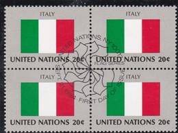 NATIONS UNIES, ITALY, Drapeau, Bloc De 4, 1er Jour, 21 Sept 1984 - Altri