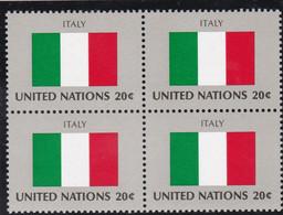 NATIONS UNIES, ITALY, Drapeau, Bloc De 4, Belle Gomme - Altri