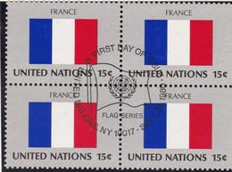 NATIONS UNIES, FRANCE, Drapeau, Bloc De 4,1er Jour, 26 Sept 1980 - Altri