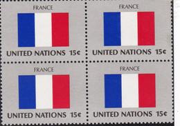 NATIONS UNIES, FRANCE, Drapeau, Bloc De 4, Belle Gomme - Altri