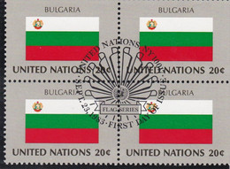 NATIONS UNIES, BULGARIA, Drapeau, Bloc De 4, 1er Jour, 23 Sept 1983 - Altri