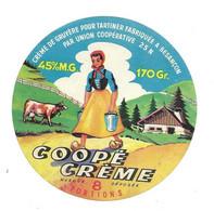 ETIQUETTE De FROMAGE.. CREME De GRUYERE Pour Tartiner Fabriqué UNION COOP. De BESANCON (25-N).. Coopé Crème - Käse
