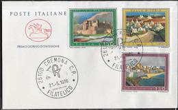 """ITALIA -F.D.C. - 1976 -   TURISTICA ANNULLO """"CREMONA C.P.*21.5.1976* FILATELICO """" SU BUSTA FDC CAVALLINO - 6. 1946-.. Republic"""