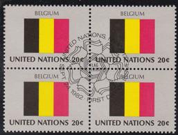 NATIONS UNIES, BELGIUM, Drapeau, Bloc De 4, 1er Jour, 24 Sept 1982 - Altri