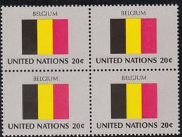 NATIONS UNIES, BELGIUM, Drapeau, Bloc De 4, Belle Gomme - Altri