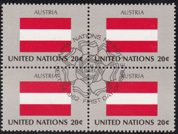 NATIONS UNIES, AUSTRIA, Drapeau, Bloc De 4, 1er Jour, 24 Sept 1982 - Altri