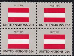 NATIONS UNIES, AUSTRIA, Drapeau, Bloc De 4, Belle Gomme - Altri
