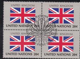 NATIONS UNIES, UNITED KINGDOM, Drapeau, Bloc De 4, 1er Jour, 23 Sept 1983 - Altri