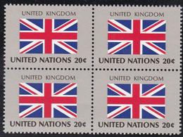 NATIONS UNIES, UNITED KINGDOM, Drapeau, Bloc De 4, Belle Gomme - Altri
