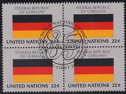 NATIONS UNIES, FEDERAL REPULIC OF GERMANY, Drapeau, Bloc De 4, 1er Jour, 26 Sept 1985 - Altri