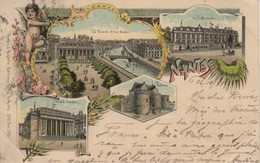 Loire Atlantique Souvenir Gruss NANTES Lithographie Voyagée 1898 Arrivée Multi Vues Edit Seughol Magdelin - Unclassified