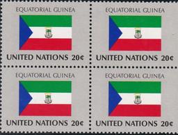 NATIONS UNIES, EQUATORIAL GUINEA, Drapeau, Bloc De 4, Belle Gomme - Altri
