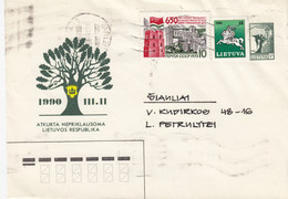 LITHUANIA READ Local Post Cover From Kaunas To Siauliai Mixed USSR Lithuania Stamps 1991 #25688 - Litauen