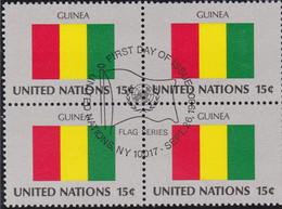 NATIONS UNIES, GUINEA, Drapeau, Bloc De 4, 1er Jour, 26 Sept 1980 - Altri