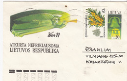 LITHUANIA READ Local Post Cover From Kaunas To Siauliai Mixed USSR Lithuania Stamps 1991 #25691 - Litauen