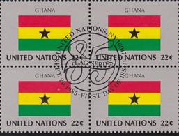 NATIONS UNIES, GHANA, Drapeau, Bloc De 4, 1er Jour, 20 Sept 1985 - Altri
