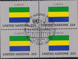 NATIONS UNIES, GABON, Drapeau, Bloc De 4, 1er Jour, 18 Sept 1987 - Altri