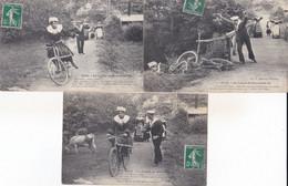 LES CHANSONS DE BOTREL LA LECON DE BICYCLETTE  LOT DE 6 CPA ANIMEES ACHAT IMMEDIAT - Bretagne