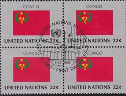 NATIONS UNIES, CONGO, Drapeau, Bloc De 4, 1er Jour, 18 Sept 1987 - Altri
