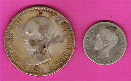 Alfonso XIII 5 Pesetas Argent Moneda De Plata 1891 + 1 Peseta 1900 - Sonstige
