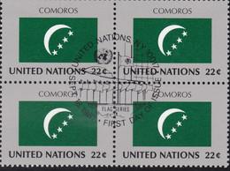 NATIONS UNIES, COMOROS, Drapeau, Bloc De 4, 1er Jour, 18 Sept 1987 - Altri