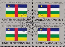 NATIONS UNIES, CENTRAL AFRICAN REPUBLIC, Drapeau, Bloc De 4, 1er Jour, 26 Sept 1984 - Altri