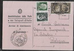 STORIA POSTALE REGNO - FRATELLANZA CENT 10 SU AVVISO DI RICEVIMENTO DA BOLOGNA  1.1.1941 - Poststempel