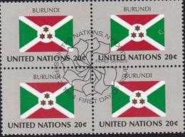 NATIONS UNIES,BURUNDI, Drapeau, Bloc De 4, 1er Jour, 21 Sept 1984 - Altri