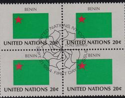NATIONS UNIES,BENIN, Drapeau, Bloc De 4, 1er Jour, 21 Sept 1984 - Altri