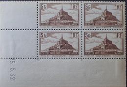 R1337/494 - 1932 - MONT ST MICHEL - N°260 BLOC NEUF**(3)/*(1) Charnière Sur BdF - CD Du 25.5.32 - Cote (2020) : 164,50 € - 1930-1939
