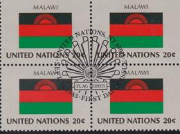 NATIONS UNIES,MALAWI, Drapeau, Bloc De 4, 1er Jour, 23 Sept 1983 - Altri