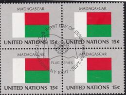 NATIONS UNIES, MADAGASCAR, Drapeau, Bloc De 4, 1er Jour, 26 Sept 1980 - Altri