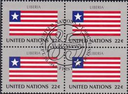 NATIONS UNIES, LIBERIA, Drapeau, Bloc De 4, 1er Jour, 20 Sept 1985 - Altri