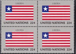 NATIONS UNIES, LIBERIA, Drapeau, Bloc De 4, Belle Gomme - Altri