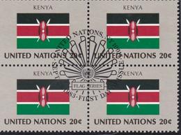 NATIONS UNIES, KENYA, Drapeau, Bloc De 4, 1er Jour, 21 Sept 1983 - Altri