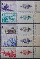 """R1337/499 - 1942 - L.V.F. - SERIE """" BORODINO """" (COMPLETE) - N°6 à 10 NEUFS** + VIGNETTES + N° DE FEUILLES - Liberation"""