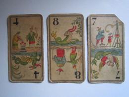 3 Cartes Tarot Chinois Grimaud Dans Les Années 1920 En Chromolithographie Dimension : 5,5 X 10,5 Cm - Tarots