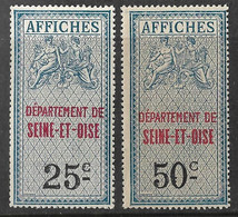 France Fiscaux Affiches 25c+50c Dépt. Seine Et Oise - Fiscales