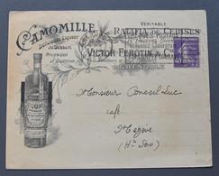 Enveloppe Avec En-tête Illustrée -publicitaire-commerciale - Grenoble V. Ferotin - Camomille, Ratafia, ...Liqueurs -1928 - 1900 – 1949